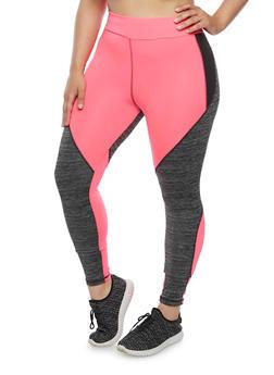 Plus Size Athletic Color Block Leggings - 1951038340717