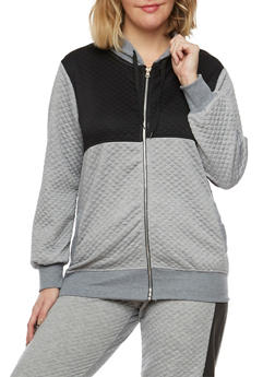 Plus Size Quilted Hoodie in Color Block Print - 1951038340741