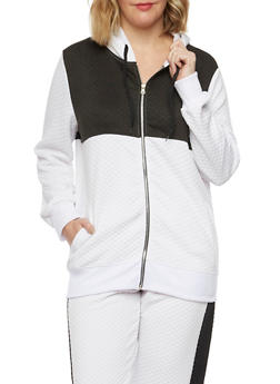Plus Size Quilted Hoodie in Color Block Print - WHITE - 1951038340741