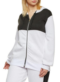 Plus Size Quilted Hoodie in Color Block Print - WHT-BLK - 1951038340741