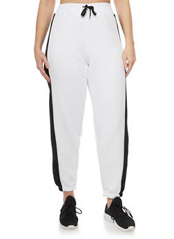 Plus Size Quilted Joggers with Tuxedo Stripe - 1951038340742