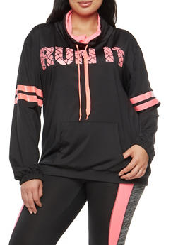 Plus Size Active Run It Graphic Sweatshirt - 1951038340801
