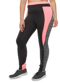 Plus Size Color Block Active Leggings - 1951038340802