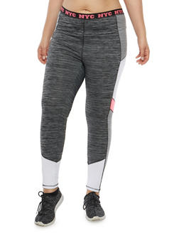 Plus Size Space Dye Athletic Leggings - 1951038340804