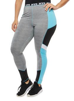 Plus Size Space Dye Athletic Leggings - 1951038340804