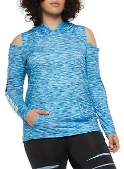 Plus Size Hooded Cold Shoulder Active Top - 1951038340805