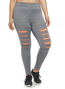 Plus Size Slit Leg Active Leggings - 1951038340806