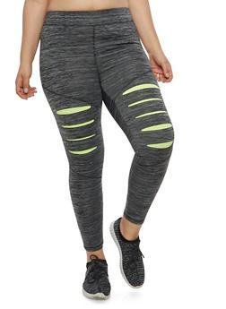Plus Size Slit Leg Active Leggings - 1951038340806