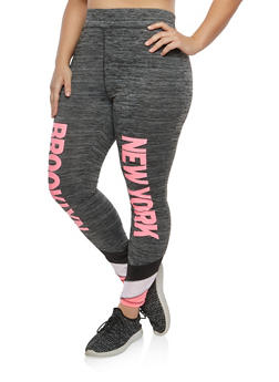 Plus Size Love New York Graphic Activewear Leggings - 1951038340809