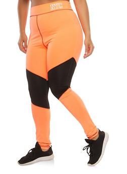 Plus Size Color Block Active Leggings - 1951038340820