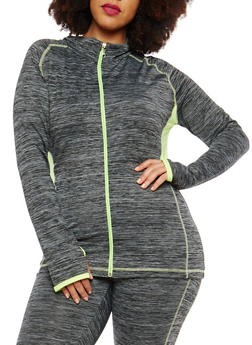 Plus Size Zip Up Color Block Sweatshirt - 1951038340821