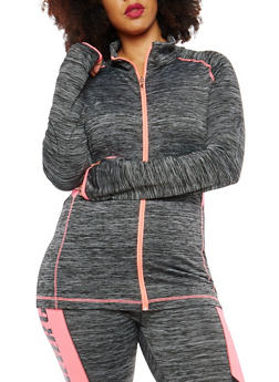 Plus Size Zip Up Color Block Sweatshirt - 1951038340821