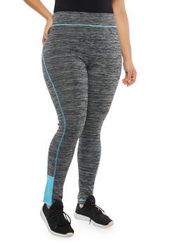 Plus Size Contrast Seam Activewear Leggings - 1951038340822
