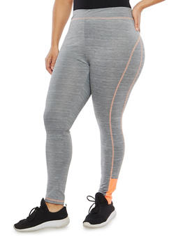 Plus Size Contrast Seam Activewear Leggings - 1951038340822