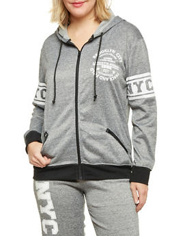 Plus Size Zip Front Hoodie with Brooklyn Graphic - 1951038341516