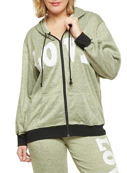Plus Size Zip Front Hoodie with Love Print - 1951038341517