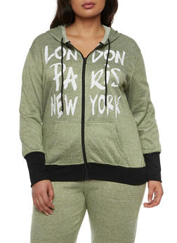 Plus Size Zip Up Hoodie with London Paris New York Graphic - 1951038341518