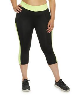 Plus Size Athletic Capri Leggings - 1951038341704