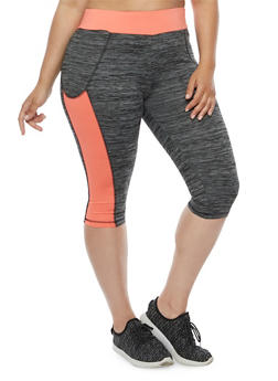 Plus Size Athletic Capri Leggings - 1951038341704