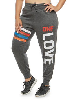 Plus Size One Love Graphic Sweatpants - 1951038342711