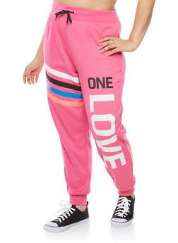 Plus Size One Love Graphic Sweatpants - 1951038342711