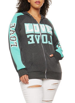 Plus Size Love Graphic Zip Front Hooded Sweatshirt - 1951038342722