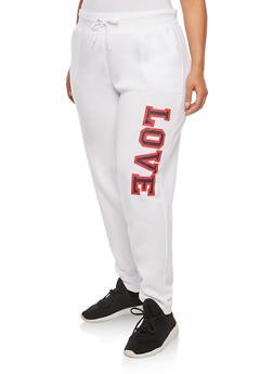 Plus Size Love Graphic Sweatpants - 1951038342723