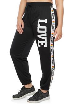 Plus Size Love Graphic Sweatpants - 1951038342725