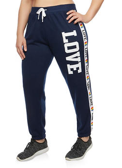 Plus Size Love Graphic Sweatpants - 1951038342725