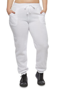 Plus Size Quilted Pocket Sweatpants - 1951038342732