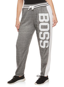 Plus Size Boss Graphic French Terry Sweatpants - 1951038342743