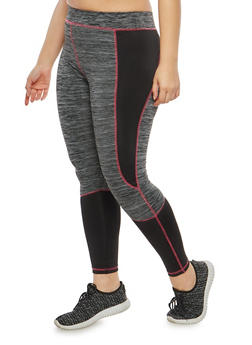 Plus Size Marled Color Block Activewear Leggings - 1951038342808