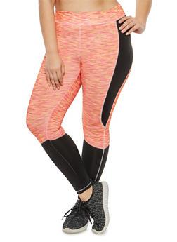 Plus Size Marled Color Block Activewear Leggings - 1951038342808