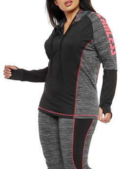 Plus Size Graphic Color Block Hooded Activewear Top - 1951038342809