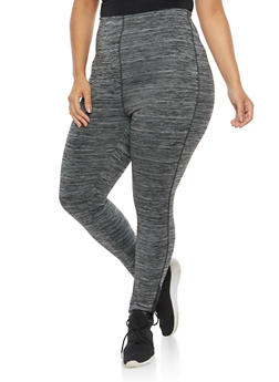 Plus Size Marled Activewear Leggings - 1951038342810