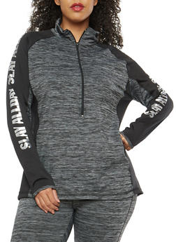 Plus Size Slay All Day Graphic Active Sweatshirt - 1951038342811