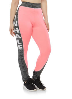 Plus Size Graphic Text Color Block Leggings - 1951038342813