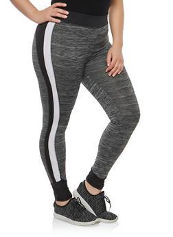 Plus Size Marled Color Block Activewear Leggings - 1951038342819