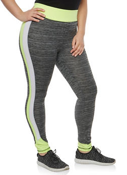 Plus Size Marled Color Block Activewear Leggings - 1951038342819