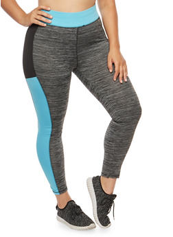 Plus Size Color Block Activewear Leggings - 1951038342821
