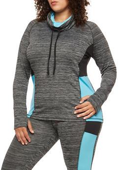 Plus Size Color Block Cowl Neck Activewear Top - 1951038342822