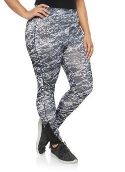 Plus Size Printed Activewear Leggings - 1951038342824