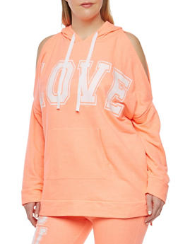 Plus Size Love Graphic Cold Shoulder Sweatshirt - 1951038342855