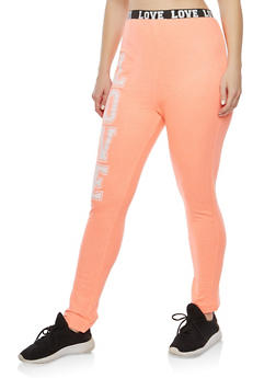 Plus Size Love Graphic Sweatpants - 1951038342856