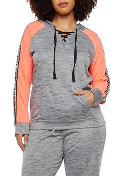 Plus Size Love Graphic Color Blocked Sweatshirt - 1951038342857