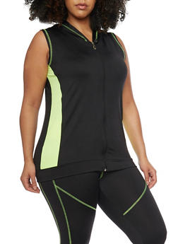 Plus Size Sleeveless Activewear Hoodie - 1951038347066