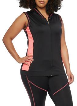 Plus Size Sleeveless Activewear Hoodie - 1951038347066