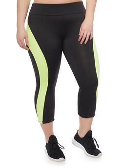 Plus Size Activewear Capri Leggings - 1951038347068