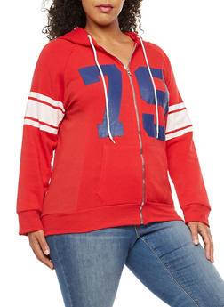 Plus Size 79 Graphic Zip Front Hooded Sweatshirt - 1951038347079