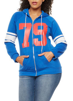 Plus Size 79 Graphic Zip Front Hooded Sweatshirt - 1951038347079